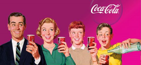 Coca Cola vintage ad with happy family