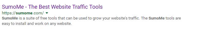 SumoMe Google listing