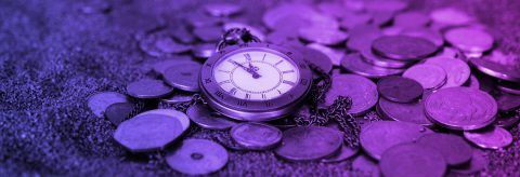 Coins with pocket watch